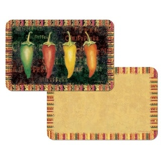 Counterart Reversible Plastic Wipe Clean Placemats - Hot and Spicy Chili Peppers (Set of 4)