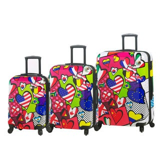 Mia Toro Italy International Love 3-piece Expandable Fashion Hardside Spinner Luggage Set