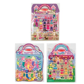 Melissa & Doug Puffy Sticker Set Bundle - Fairy, Dress-Up and Mermaid