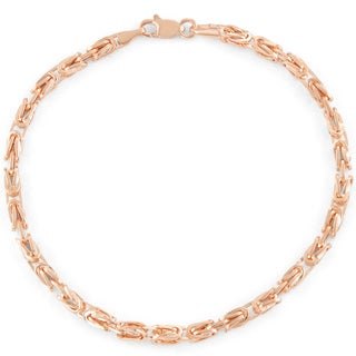 Gioelli 14k Rose Gold Petite Square Byzantine Bracelet