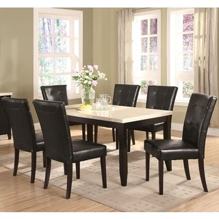 Sasfay Contemporary Style Dining Set with Faux Cream Marble Top