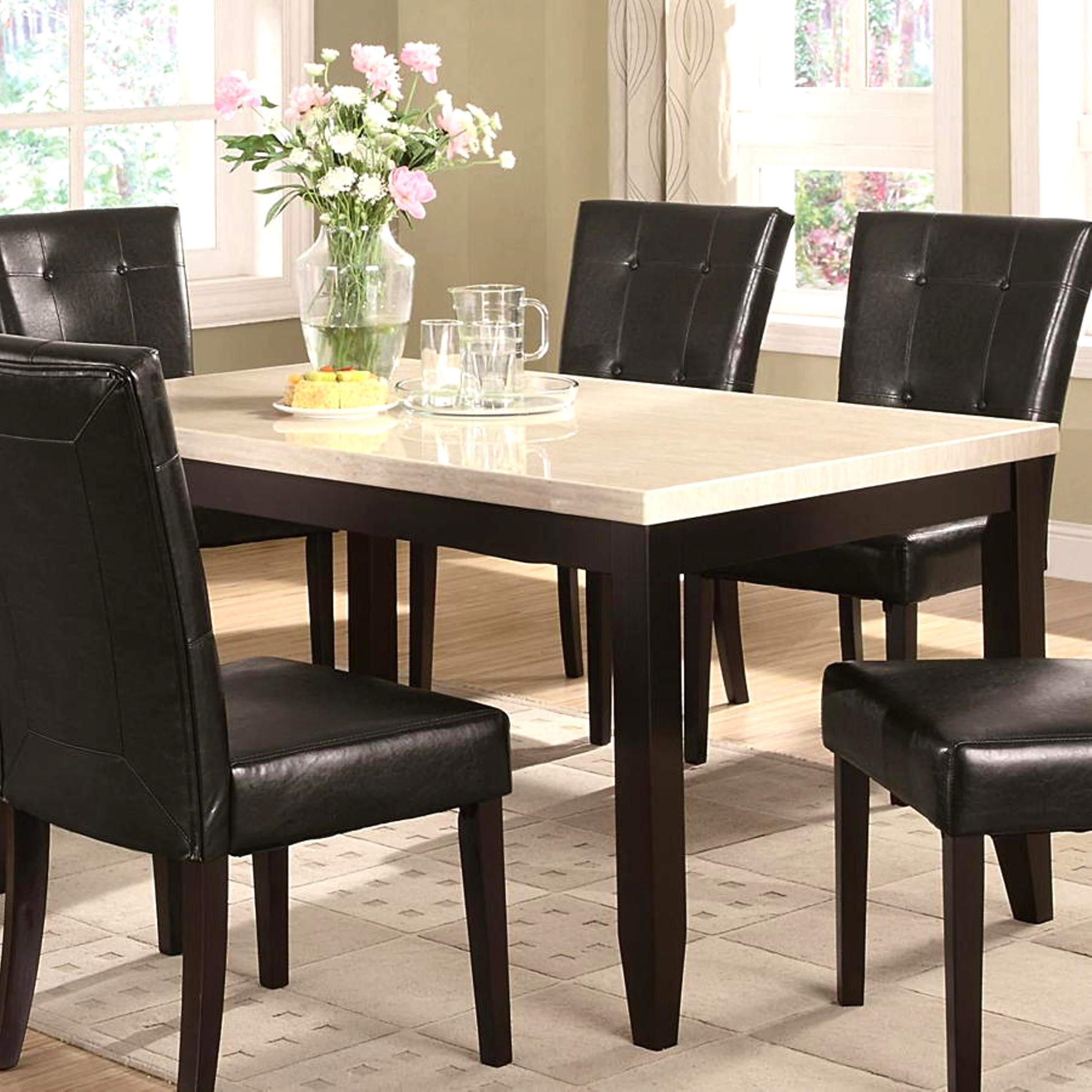 Sasfay Contemporary Style Dining Set with Faux Cream Marb...