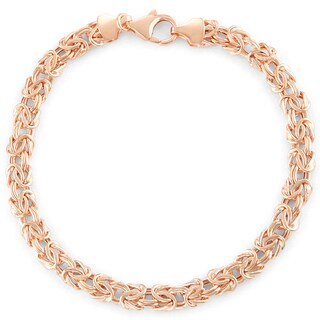 Gioelli 14k Rose Gold Lightweight Byzantine Bracelet
