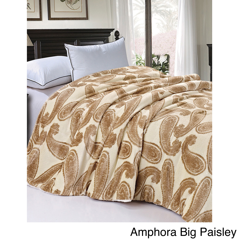 BNF Serenta Faux Fur Sherpa Backing Bed Blanket (Amphora ...