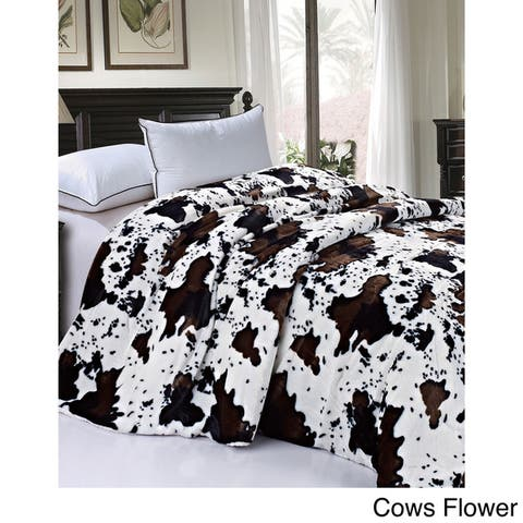 Serenta Faux Fur Sherpa Backing Bed Blanket