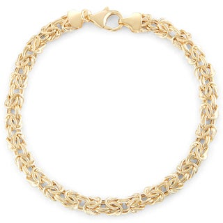 Gioelli 14k Gold Lightweight Byzantine Bracelet