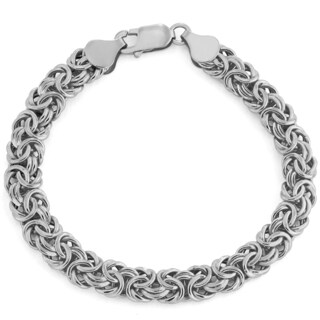 Gioelli 14k White Gold Byzantine Bracelet