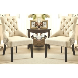 La'Moldura Script Design Button Tufted Dining Chairs with Nail Head Trim (Set of 2)