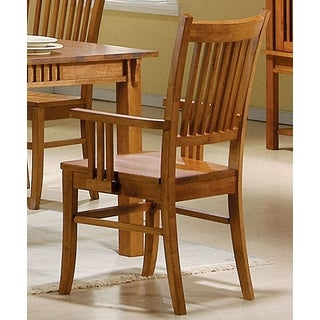 Mid Century Design Wood Mission Country Style Arm Chairs (Set of 2)