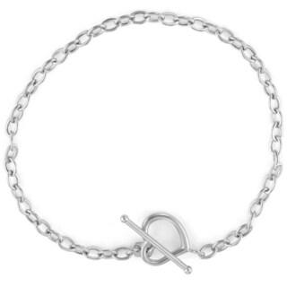 Gioelli 14k White Gold Open Heart Toggle Bracelet
