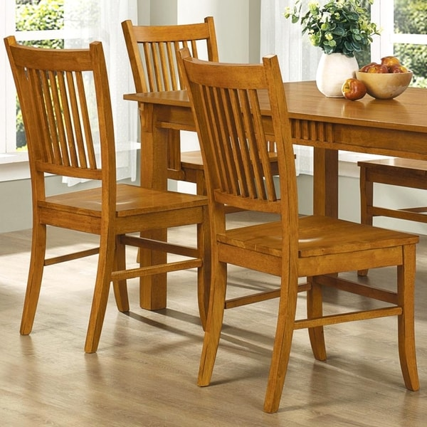 Mid Century Design Wood Mission Country Style Dining Chairs Set Of 2