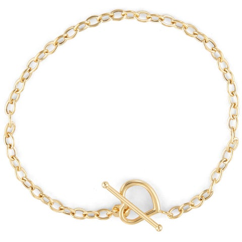 Gioelli 14k Gold Open Heart Toggle Bracelet