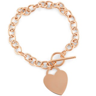Gioelli 14k Rose Gold Heart Toggle Bracelet