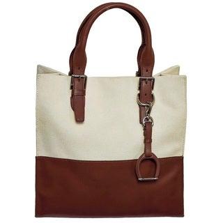 Ralph Lauren Canvas And Leather Tote