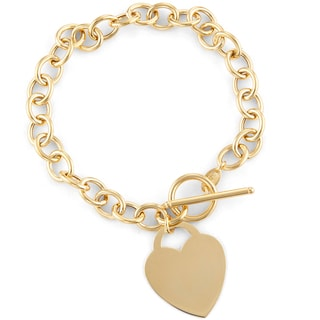 Gioelli 14k Gold Heart Toggle Bracelet