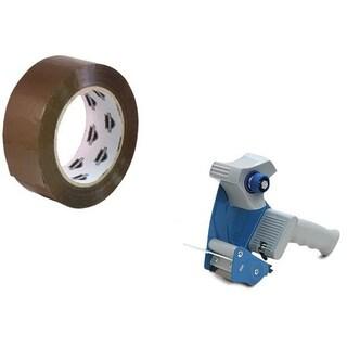 12 Rolls 3-inch x 55 yard Tan Packing Tape 1.8 Mil + Free 2-inch Tape Gun Dispenser