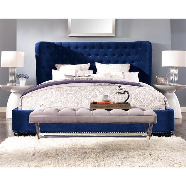 blue velvet bed frame and headboard - Velvet Bed Frame