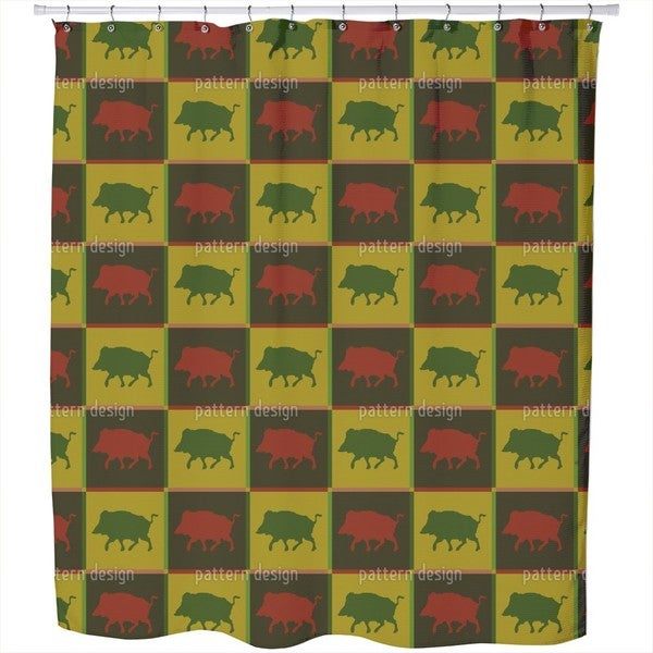 Wild Boar Territory Shower Curtain