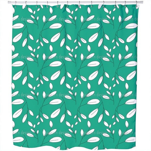 White Leaves Shower Curtain