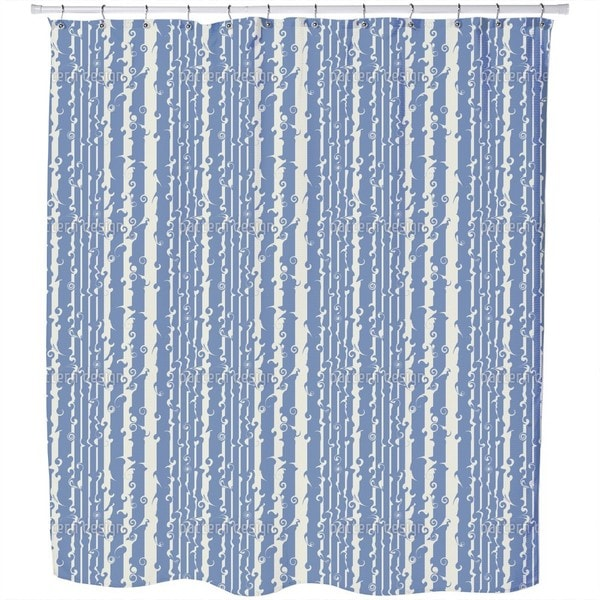 Wavy Games in Blue Shower Curtain