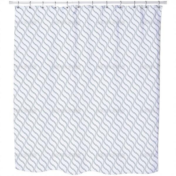 Wavy Dots Grey Shower Curtain