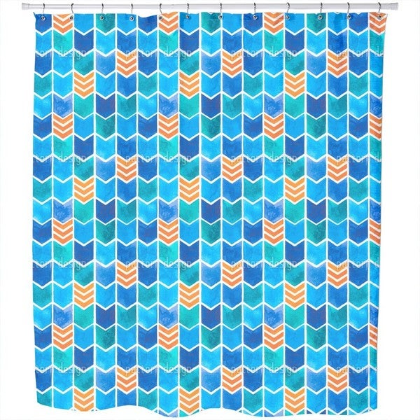 Water Color Zigzag Shower Curtain