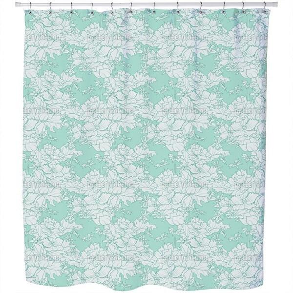 Vintage Flowers Mint Shower Curtain
