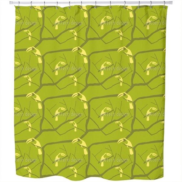 Tucan Green Shower Curtain