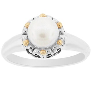 Meredith Leigh Sterling Silver 14k Yellow Gold Accent Pearl Ring (6.5 - 7 mm)