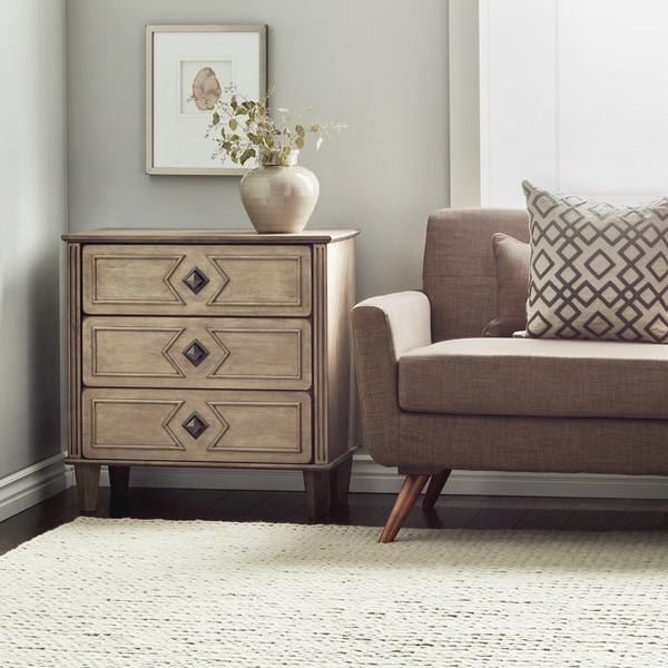 Havenside Home Grey Weathered 3 Drawer 30 Inch Side Table