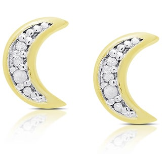 Molly and Emma Gold Over Silver or Sterling Silver Diamond Accent Moon Stud Earrings
