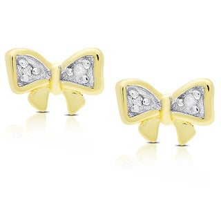 Molly and Emma Gold Over Silver or Sterling Silver Diamond Accent Bow Stud Earrings