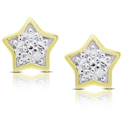 Molly and Emma Gold Over Silver or Sterling Silver Diamond Accent Star Stud Earrings