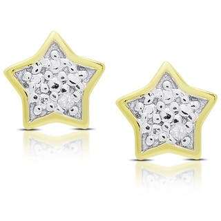 Molly and Emma Gold Over Silver or Sterling Silver Diamond Accent Star Stud Earrings|https://ak1.ostkcdn.com/images/products/11614424/P18550889.jpg?impolicy=medium