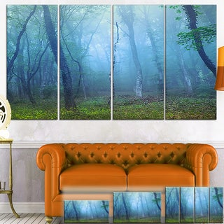 Designart 'Dark Foggy Forest Trees' Landscape Photo Canvas Wall Art