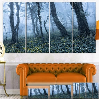 Designart 'Trees in Foggy Spring Forest' Landscape Photo Canvas Wall Art