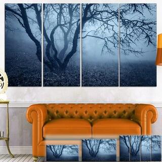 Designart 'Tree in Foggy Dark Forest' Landscape Photo Canvas Wall Art
