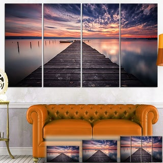 Designart 'Colorful Sunset Over Lake' Landscape Photo Canvas Wall Art - Multi-color