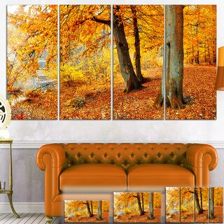 Designart 'Yellow Forest of Autumn' Landscape Photo Canvas Wall Art