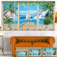 Designart 'Wooden Terrace with Sea View' Landscape Photo Canvas Wall Art