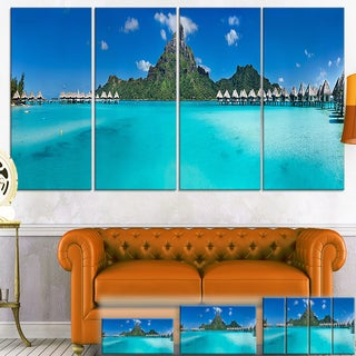 Designart 'Bora Bora Panorama Beach' Seascape Canvas Art Print