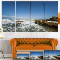 Designart 'Sea with White Waves' Seascape Photo Canvas Wall Art