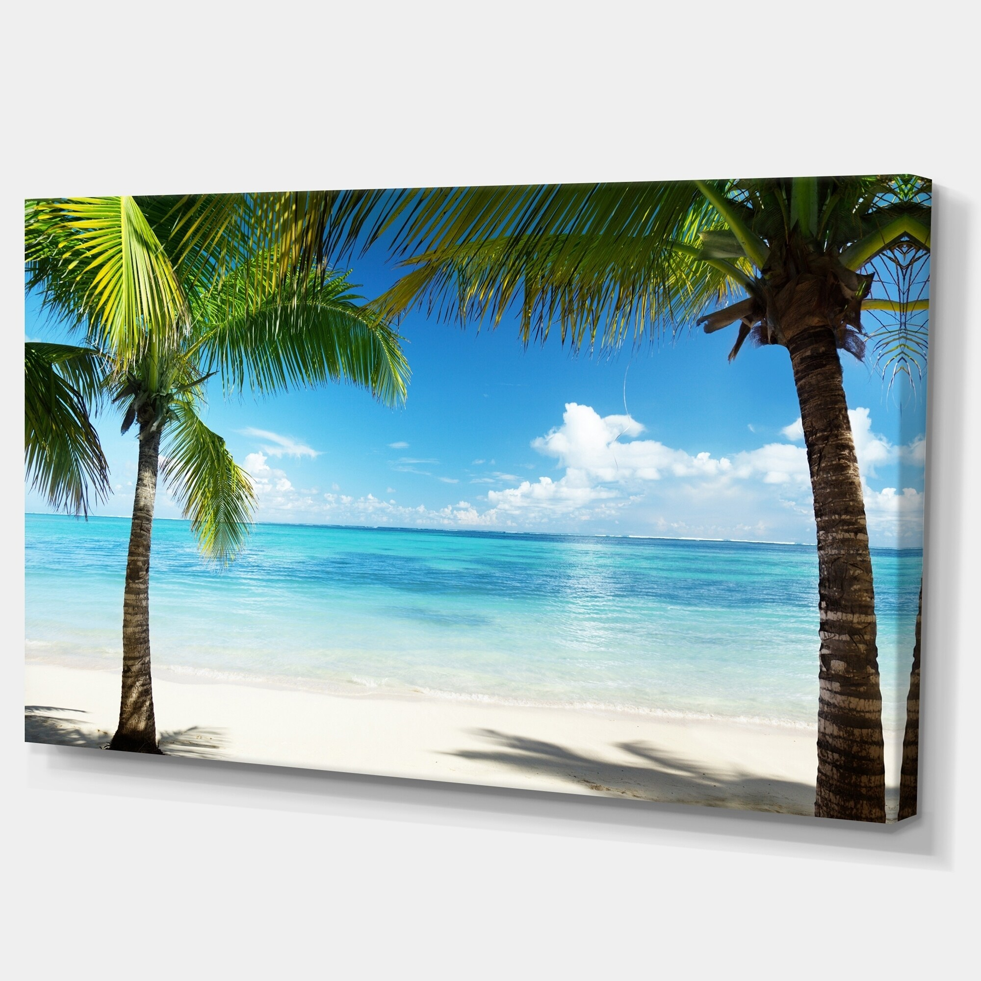 Designart Palm Trees And Sea Landscape Photo Canvas Wall Art Overstock 11614495