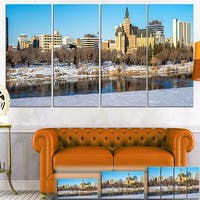 Designart 'Saskatoon Skyline' Landscape Photo Canvas Art Print - Blue