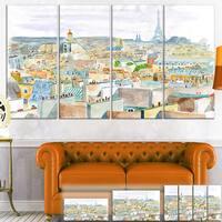 Designart 'City of Paris' Watercolor Cityscape Canvas Art Print - Blue