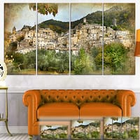 Designart 'Old Italian Villages' Landscape Photography Canvas Wall Art - Green