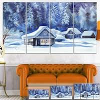 Designart 'Blue Winter Cottages' Landscape Canvas Art Print - Blue