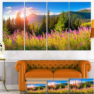 Designart 'Mountains with Pink Flowers' Landscape Floral Canvas Wall Art