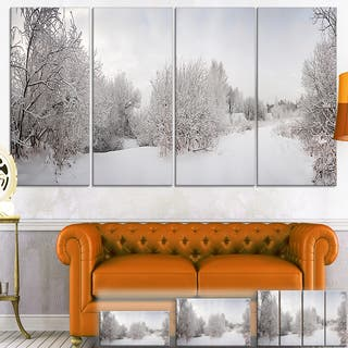 Designart 'Snow Landscape with Frosted Trees' Landscape Canvas Wall Art - White