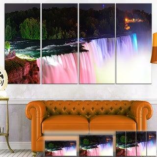Designart 'Colorful Niagara Falls Panorama' Modern Canvas Wall Art - Green